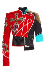 Dolce And Gabbana Asymmetrical Ornate Jewel Cropped Jacket Red Blue Gold