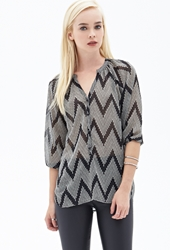 Forever 21 Spotted Zigzag Chiffon Top Black Cream