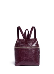 Kara Small Croc Embossed Leather Backpack Purple