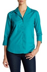 Foxcroft 3 4 Length Sleeve Shaped Fit Shirt Green