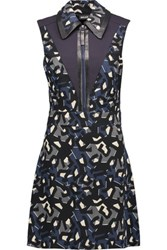 Just Cavalli Leather Trimmed Printed Stretch Jersey Mini Dress Black