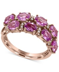 Effy Pink Sapphire 3 7 8 Ct. T.W. And Diamond Accent Ring In 14K Rose Gold
