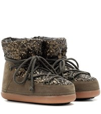 Inuikii Sequin Low Suede Ankle Boots Green