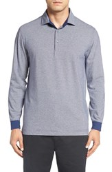 Bobby Jones Men's 'Liquid Cotton Skyline' Stripe Long Sleeve Polo Summer Navy