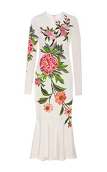 Naeem Khan Embroidered Floral Detail Midi Fit And Flare Dress White