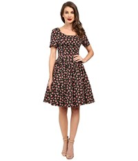Unique Vintage Roman Holiday Sleeved Scallop Swing Dress Black Floral Women's Dress Multi