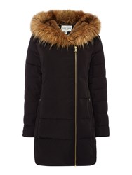 Andrew Marc New York Quilted Parka With Faux Fur Hood Black