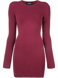 Dsquared2 Knit Bodycon Dress Pink And Purple