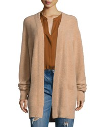 Vince Boiled Cashmere Open Front Long Line Cardigan Camel