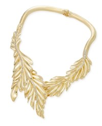 Thalia Sodi Gold Tone Crystal Leaf Collar Necklace Only At Macy's