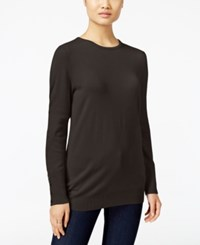 Jm Collection Crew Neck Button Cuff Sweater Only At Macy's Espresso Roast