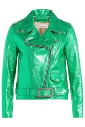 Golden Goose Metallic Leather Jacket Green