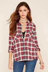 Forever 21 Tartan Plaid Snap Button Shirt