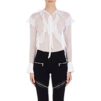 Givenchy Women's Ruffle Trimmed Chiffon Blouse White