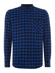 Merc Long Sleeve Square Check Shirt Navy