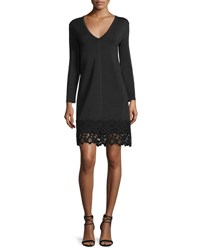 Lela Rose Long Sleeve Lace Hem Knit Dress Black