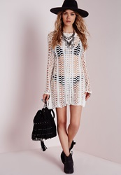 Missguided Long Sleeve Crochet Bodycon Knitted Dress Cream Cream