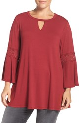 Bobeau Plus Size Women's Lace Inset Bell Sleeve Jersey Top