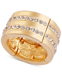 T Tahari Gold Tone Pave Stretch Ring