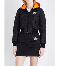 Boy London Hooded Cropped Quilted Jacket Black