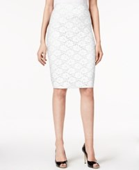 Alfani Lace Pencil Skirt Only At Macy's Bright White