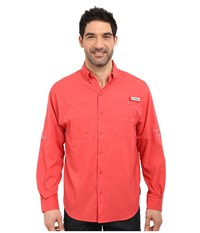 Columbia Tamiami Ii L S Sunset Red Men's Long Sleeve Button Up Multi