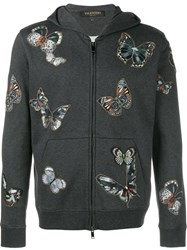 Valentino Embroidered Butterfly Pattern Hoodie Grey