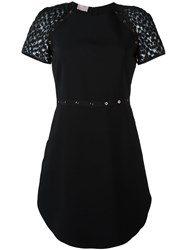 Giamba Sheer Sleeve Dress Black
