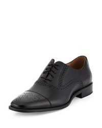 Neiman Marcus Barletta Leather Cap Toe Oxford Black