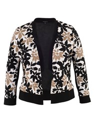 Chesca Floral Print Fancy Jersey Shrug Black