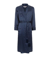 Derek Rose Kaleidoscope Silk Robe Male Blue