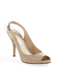 Enzo Angiolini Mykell Peep Toe Slingback Pumps Natural Patent