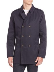 Sand Solid Double Breasted Front Jacket Navy