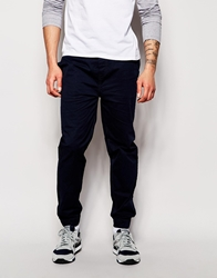 Solid Cuffed Chinos In Straight Fit Navy