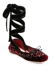Miu Miu Studded Velvet Lace Up Ballet Flats Bordeaux