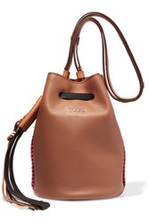 Tod's Gypsy Textured Leather Bucket Bag Brown