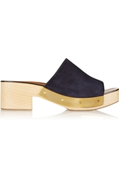 Rosetta Getty Suede And Wood Platform Clogs