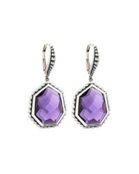 Stephen Dweck Freeform Faceted Purple Quartz Drop Earrings