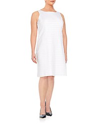Lafayette 148 New York Plus Size Laurette Textured Stripe Linen Shift Dress White