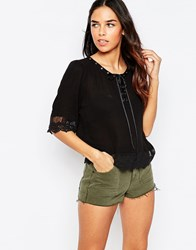 Jovonna Simple Life Top With Lace Up Front Black