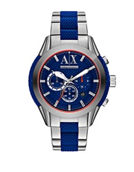 Armani Exchange Mens Chronograph Stainless Steel Silicone Bracelet Watch Blue