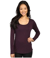 Lucy L S Workout Tee Blackberry Black Heather Women's Workout Brown