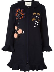 Fendi Fur Floral Applique Coat Blue
