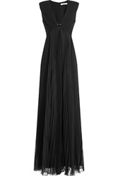 Halston Heritage Gown With Pleated Skirt And Embellishment Black
