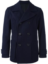 Ami Alexandre Mattiussi Oversized Lapels Double Breasted Coat Blue