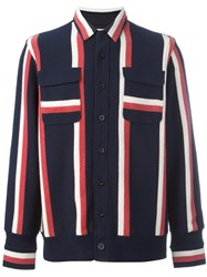 Sacai Striped Shirt Jacket Blue