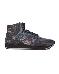 Kenzo Navy Print All Over Logo High Top Sneakers Blue