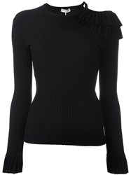 Emilio Pucci Ruffled Ribbed Jumper Black
