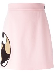 Msgm Embroidered Cat Skirt Pink And Purple