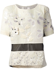 Antonio Marras Floral Embellished Top Nude And Neutrals